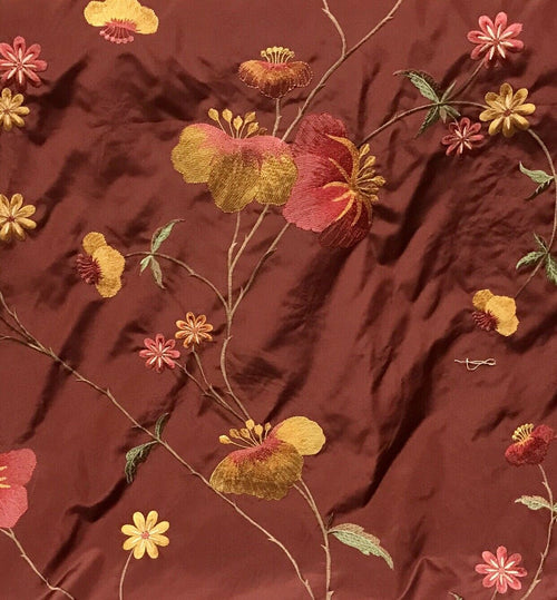 NEW! Designer 100% Silk Dupioni Embroidered Floral Fabric- Terra Cotta Burnt Red