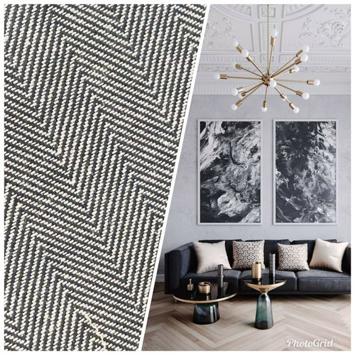 NEW Novelty Designer Herringbone Chevron Upholstery & Drapery Tweed Fabric - Steel Grey