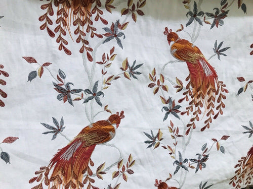 NEW! Designer Embroidered Peacock Drapery Fabric  - Rust Orange Blue-Grey G11
