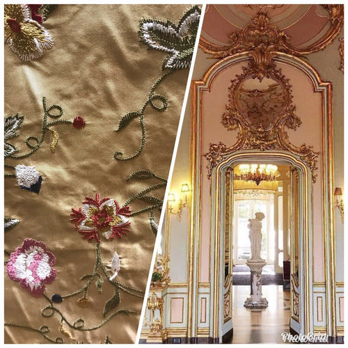 100% Silk Taffeta Dupioni Decorating Fabric Embroidery Floral Gold