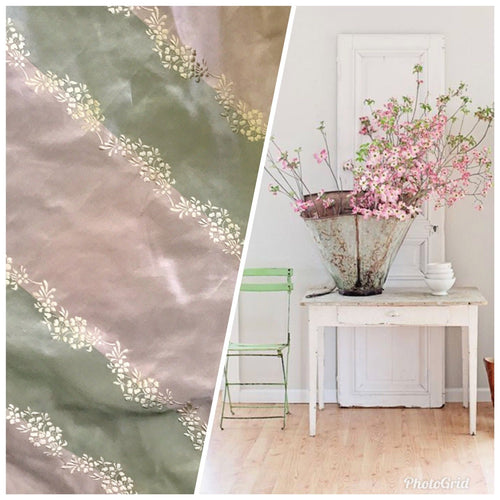 SALE! 100% Silk Taffeta Embroidered Fabric - Pink And Green Stripe W/ Floral - Fancy Styles Fabric Boutique