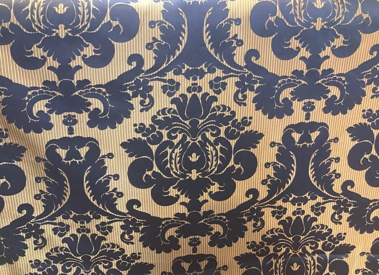 NEW! Designer Brocade Satin Fabric- Electric Navy Blue- Upholstery Damask - Fancy Styles Fabric Boutique