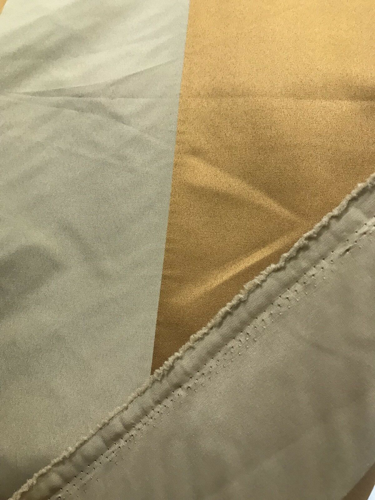 "60"" Wide- Designer Satin Drapery Fabric - 6"" Gold And Beige Stripes"