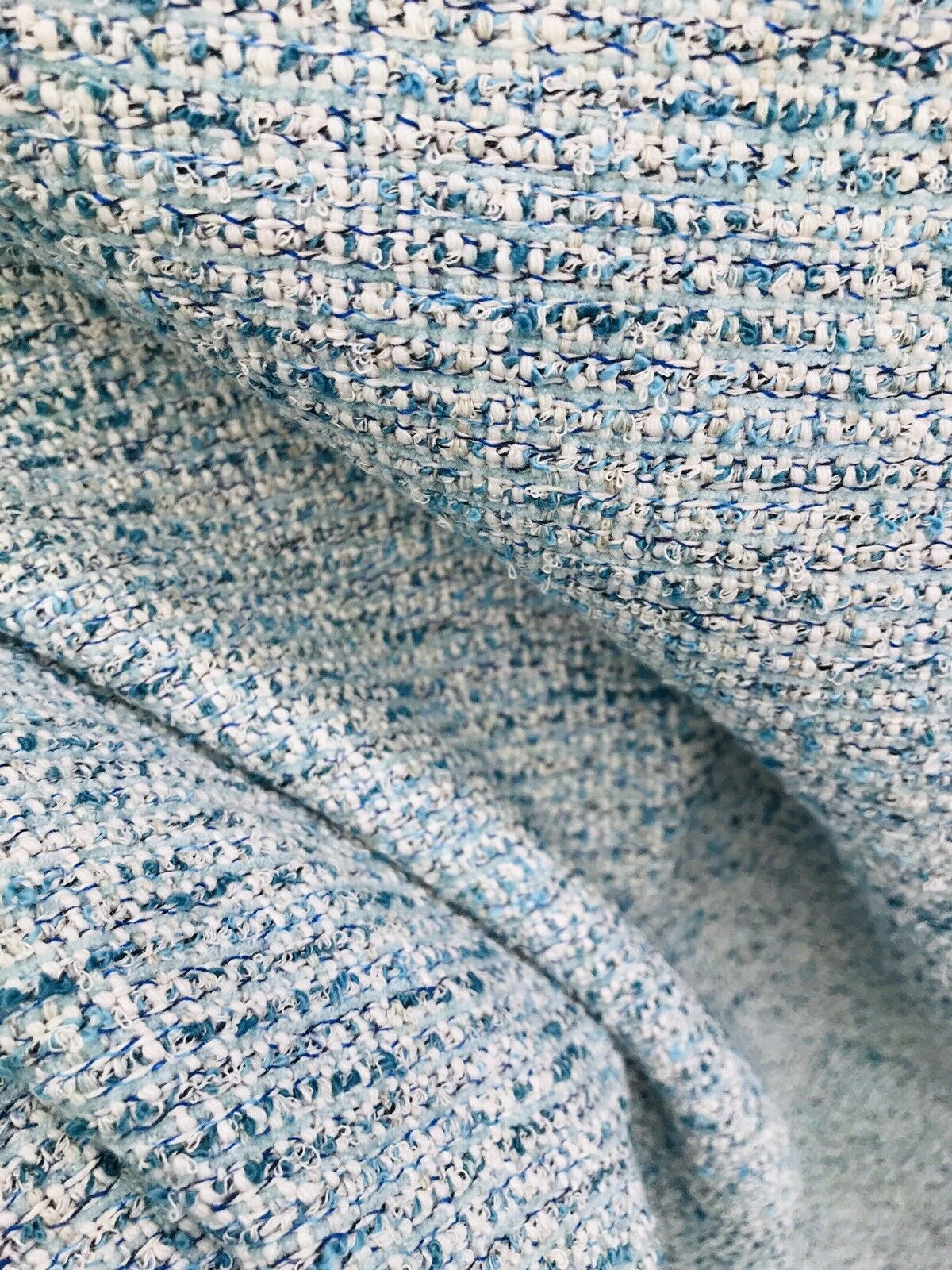 "SWATCH Designer Upholstery Heavyweight Tweed Fabric- Blue- 4"" x 7"" sample"