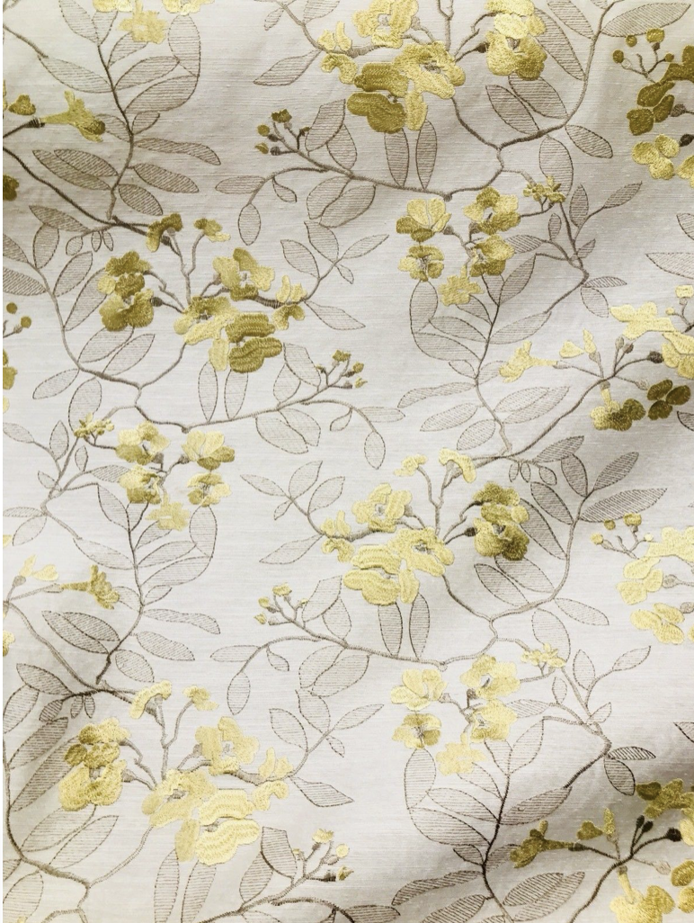 NEW Designer Linen Rayon Embroidered Floral Decorating Fabric- Yellow LLLWY0001