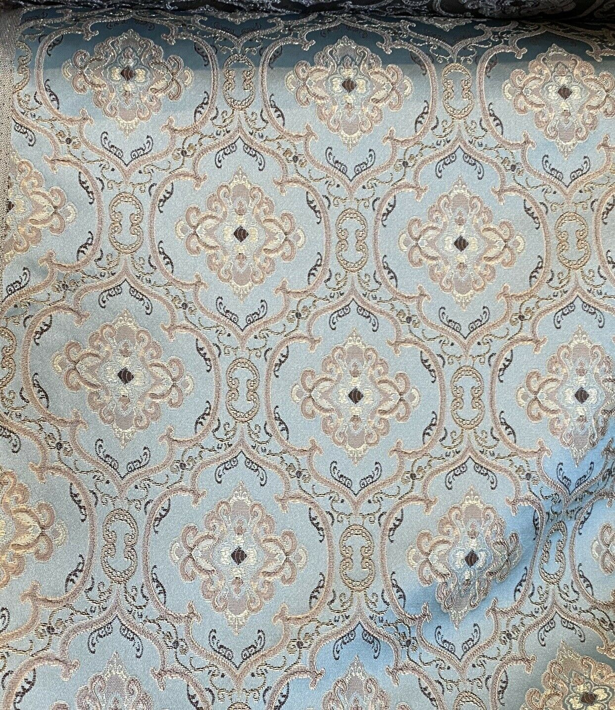 NEW! Designer Brocade Satin Damask Drapery & Upholstery Fabric- Duck Egg Blue