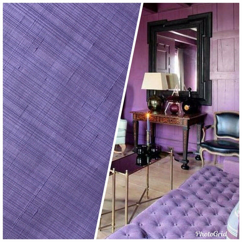 NEW! Designer 100% Silk Dupioni Lilac Faded Pinstripe Stripe Fabric -Drapery