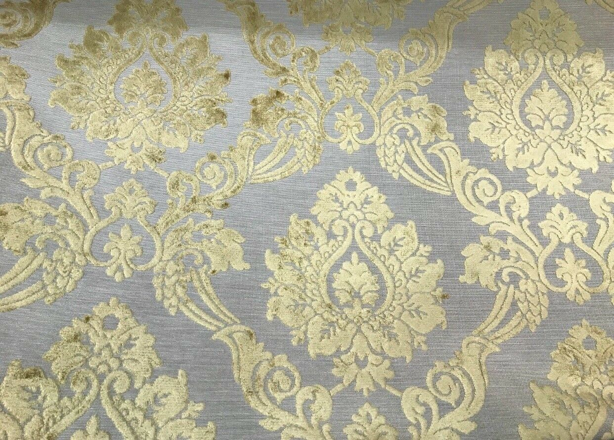 NEW Designer Velvet Chenille Burnout Fabric - Pale Gray And Yellow Upholstery
