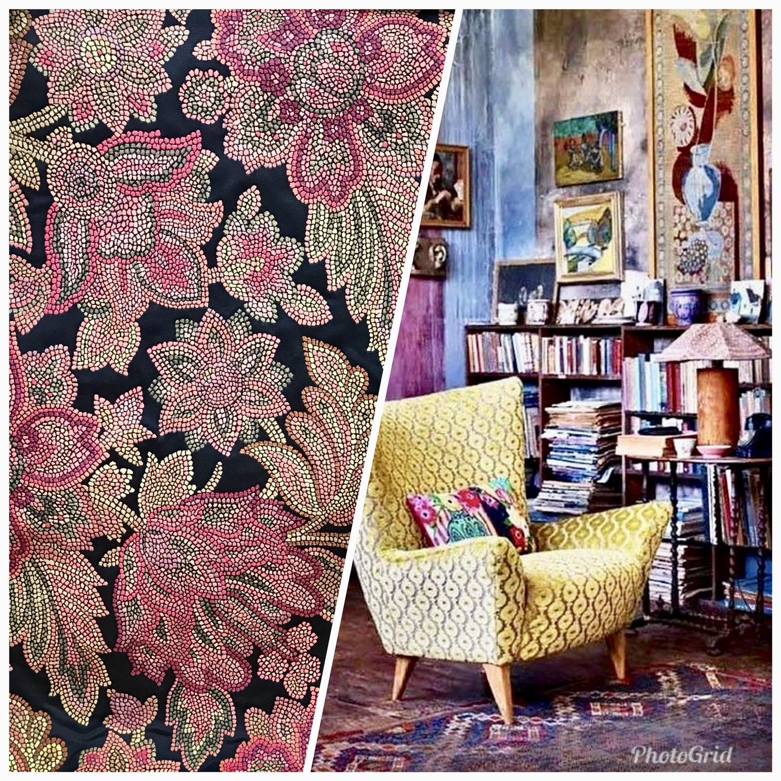 SWATCH Designer Brocade Jacquard Fabric- Black Floral - Damask- Upholstery - Fancy Styles Fabric Boutique