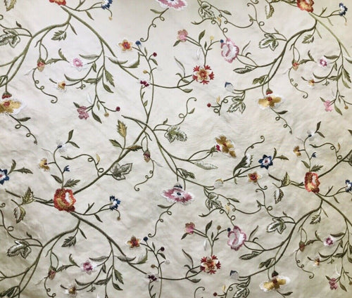 NEW! Designer 100% Silk Dupioni Embroidery Floral Fabric- Cream
