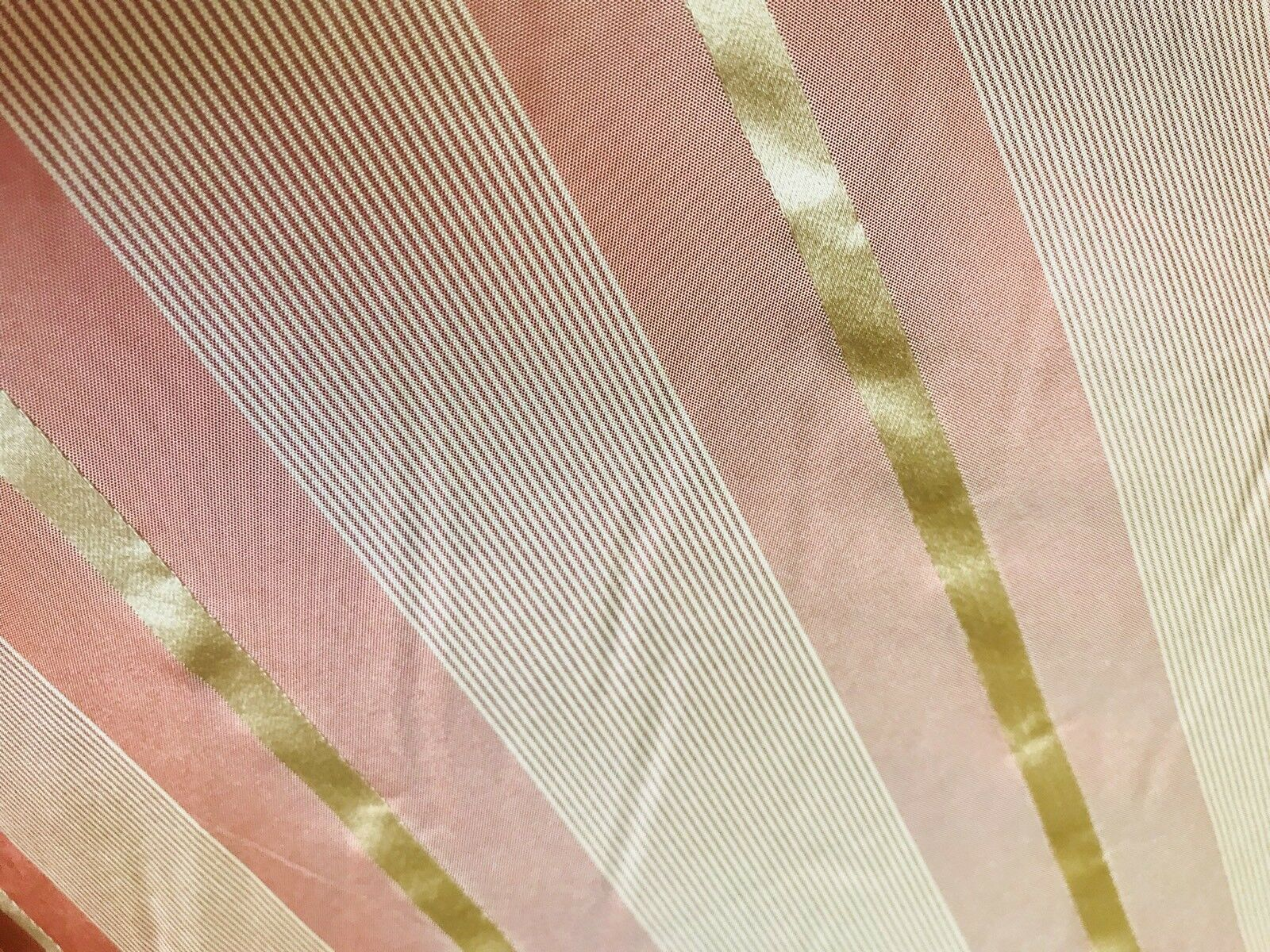 "NEW! SALE! 100% Silk Taffeta Muted Red And Gold Stripes Fabric- 55"" Wide"