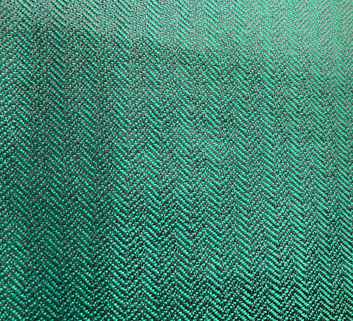 NEW Two-Tone Upholstery Herringbone Chevron Pattern Tweed Fabric -Green & Black