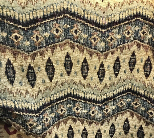 NEW Kilim Rug Inspired X-Heavy Weight Upholstery Fabric- Neutral Black