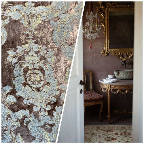 "NEW! Antique Inspired Burnout ""Furry"" Velvet Damask Fabric - Mauve"