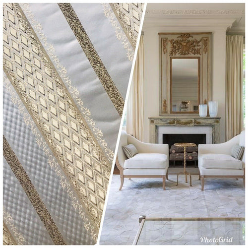 NEW Italian Brocade Striped Satin Fabric -Ivory Gold Upholstery Neoclassical