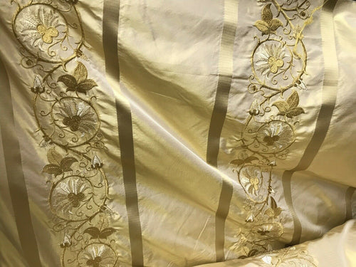 "NEW Designer 100% Silk Taffeta Dupioni Embroidery Fabric Yellow 55"" Wide"