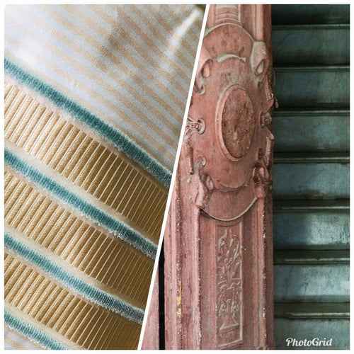 NEW! Designer 100% Silk Taffeta Aqua Velvet Striped Fabric- Rose Gold Aqua