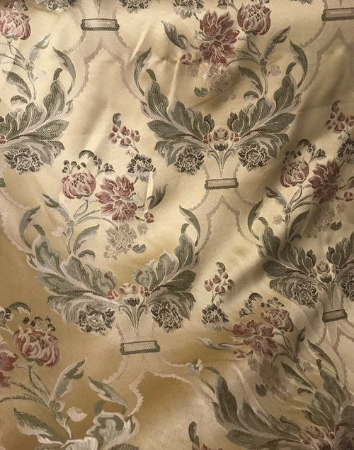 "NEW SALE 110"" Wide Designer Brocade Satin Fabric- Antique Yellow Gold Floral Damask"