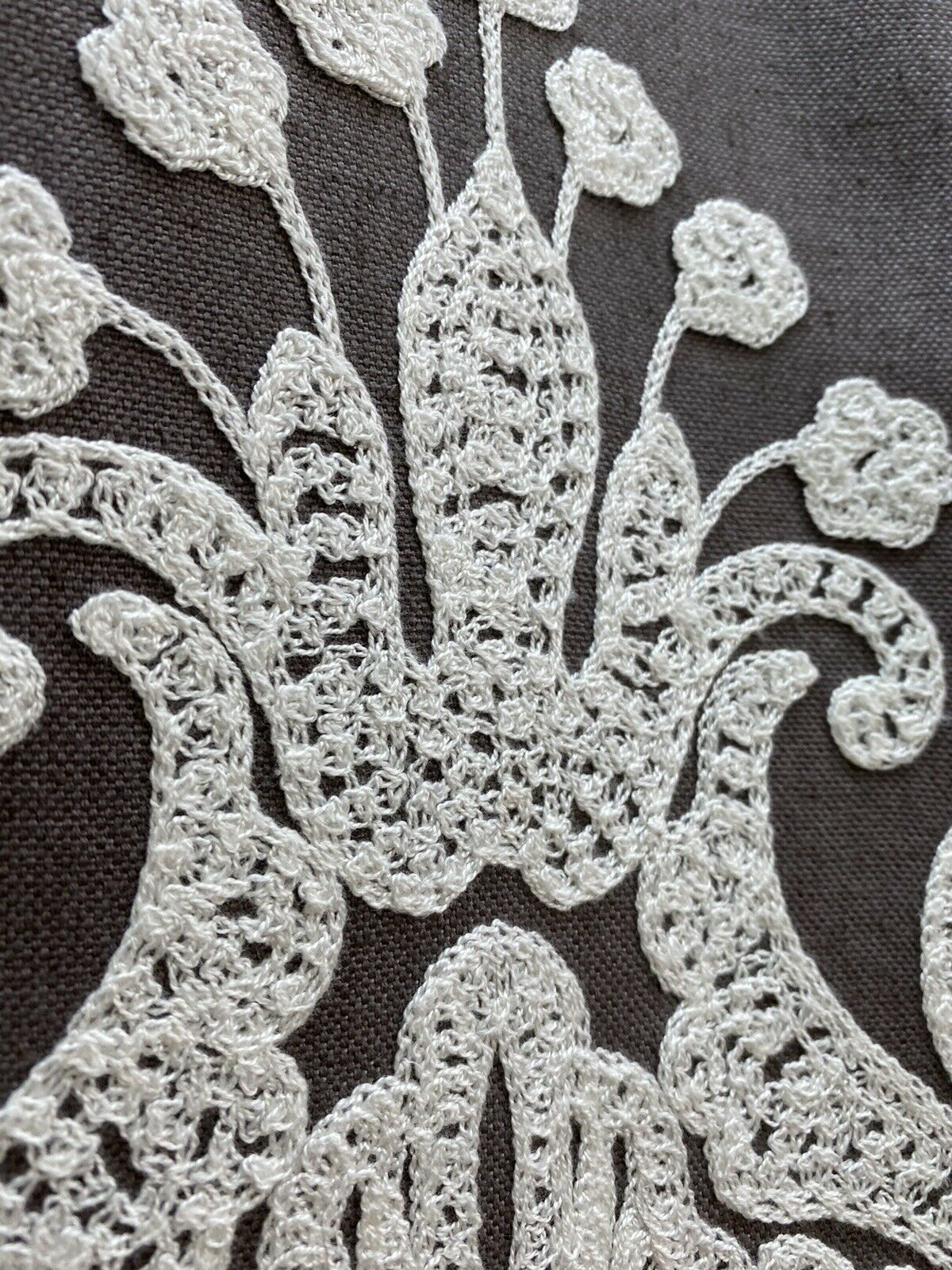 NEW! Princess Layla Designer Linen Inspired Damask Drapery Fabric- Charcoal Gray & White