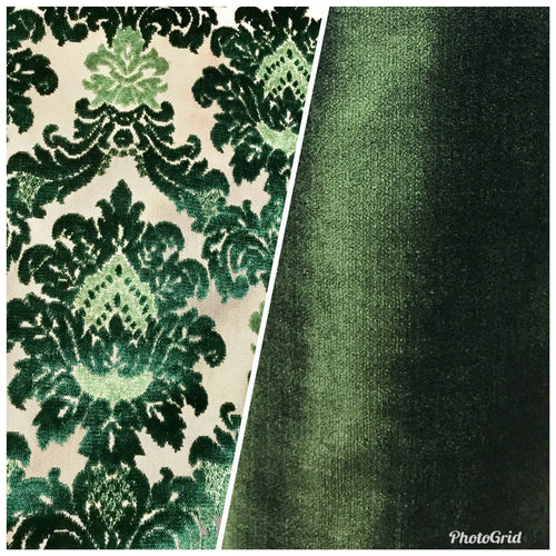 NEW! Novelty Italian Designer Burnout Damask Velvet Upholstery Fabric - Green - Fancy Styles Fabric Boutique
