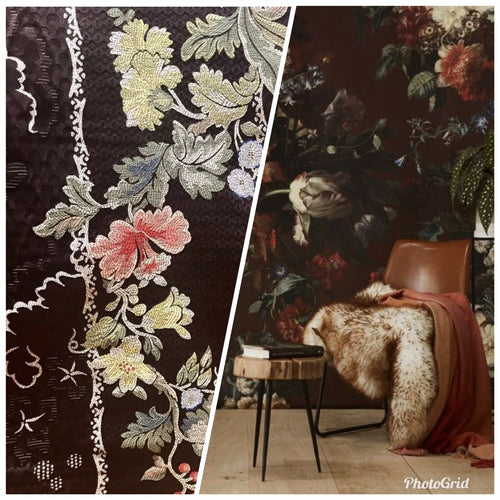 Designer Brocade Satin Fabric- Brown - Floral Damask- Upholstery LLPBN0001