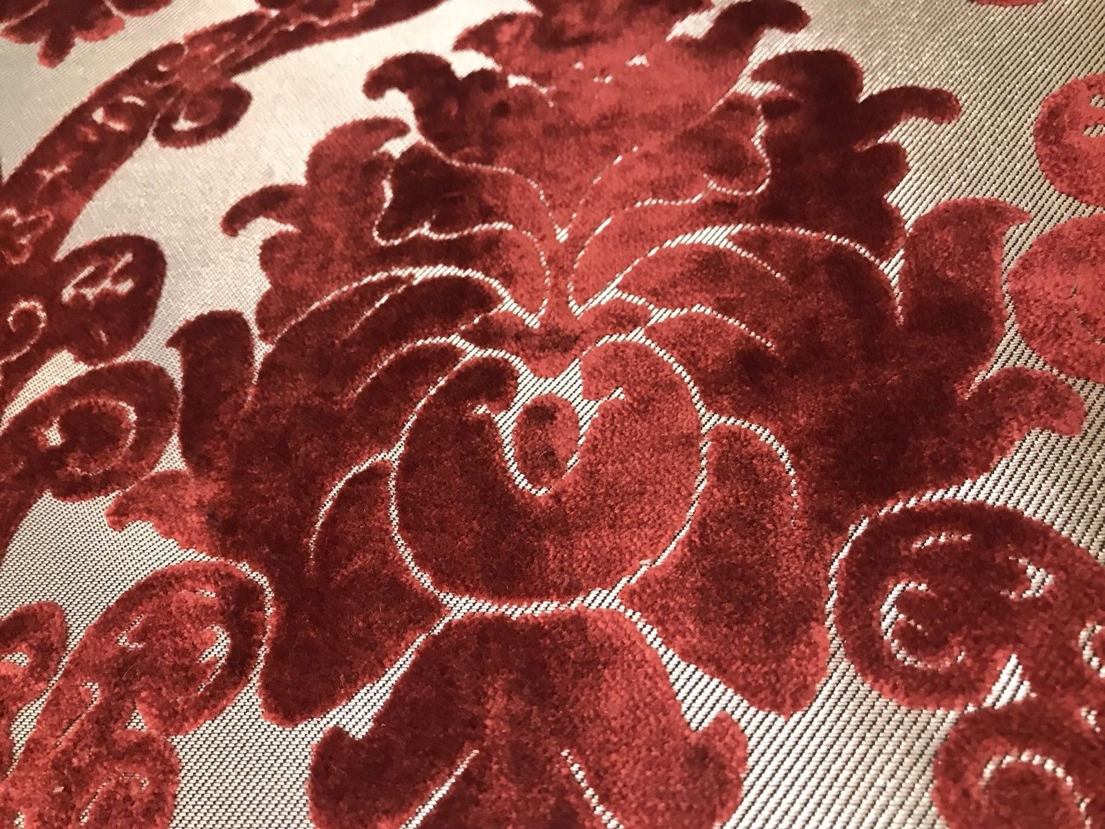 NEW! Novelty Brocade Burnout Velvet Fabric Antique Red Chandelier Floral Venetian - Fancy Styles Fabric Boutique