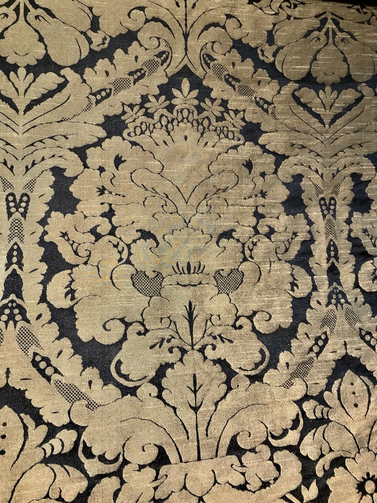 SWATCH Designer Damask Drapery Satin Fabric - Black Gold- Decorating