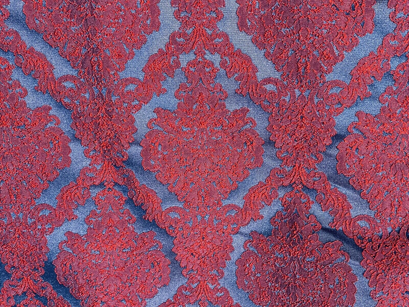 NEW Princess Giselle Designer Damask Satin Drapery Upholstery Fabric - Electric Red & Navy Blue