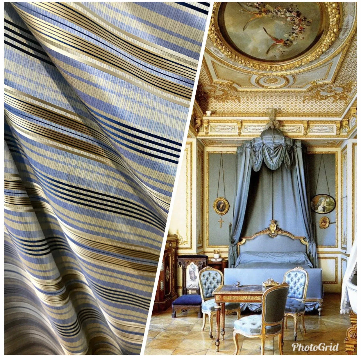 Count Levi 100% Silk Taffeta Ribbon Striped Blue and Gold Fabric