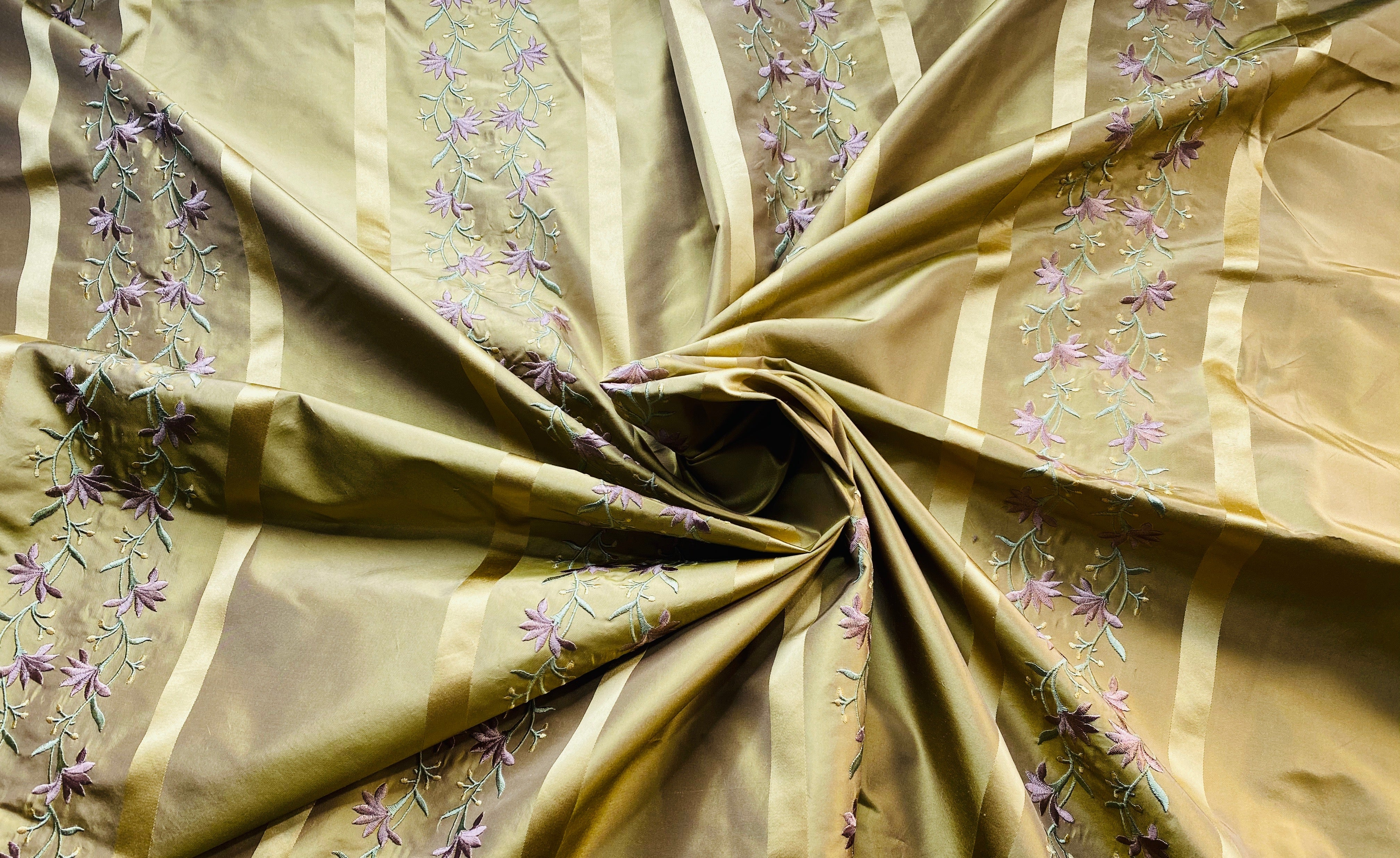 NEW Designer 100% Silk Taffeta Ribbon Stripe Embroidered Floral Fabric in Gold and Lavender