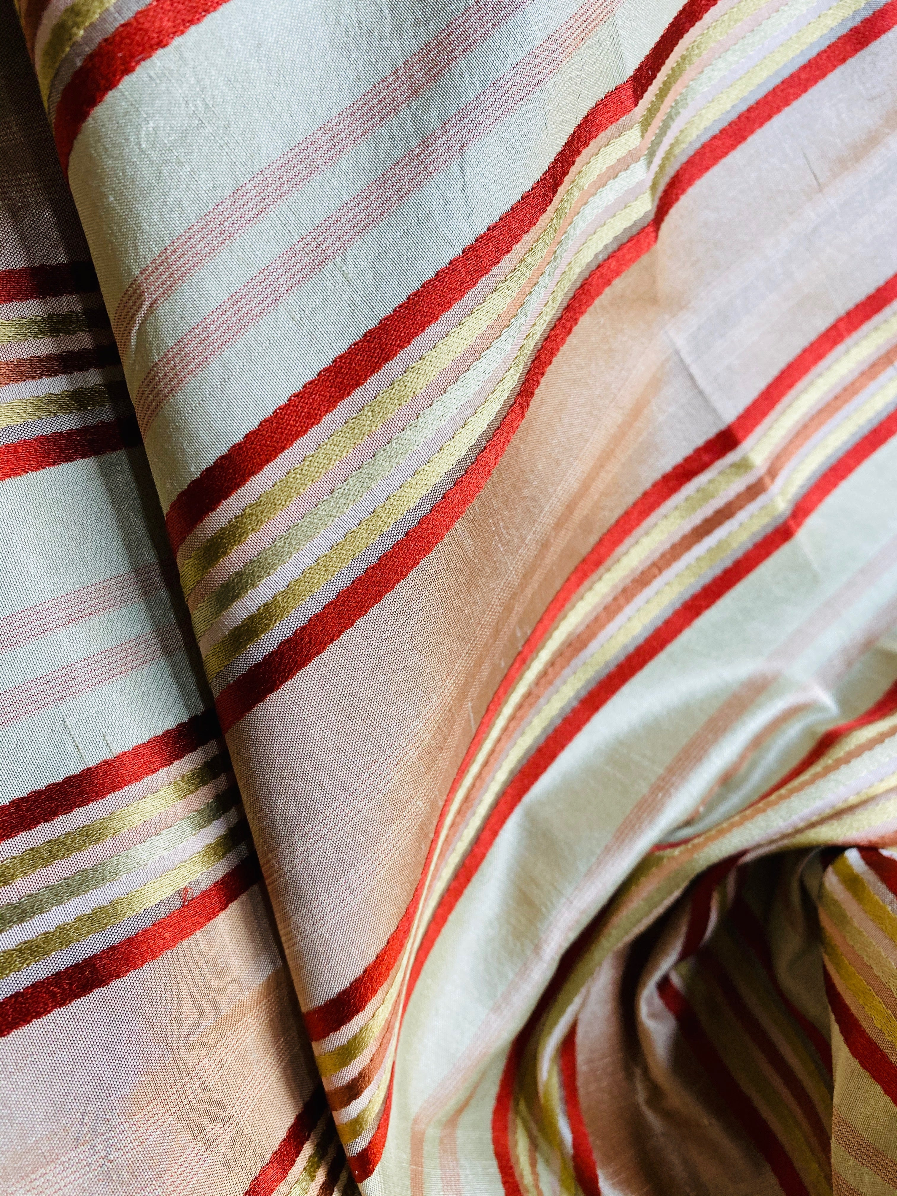 NEW Designer 100% Silk Dupioni Fabric with Red, Pink, Gold, & Copper Ribbon Stripes