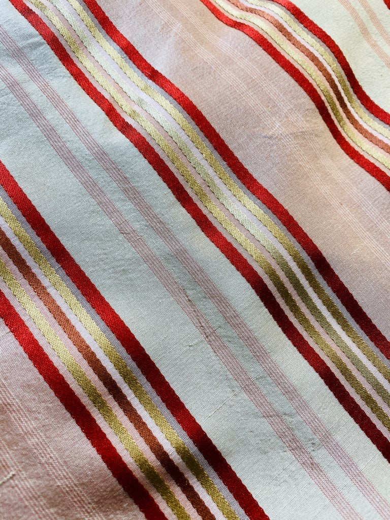 NEW Miss Charlotte Designer 100% Silk Dupioni Fabric with Red, Pink, Gold, & Copper Ribbon Stripes