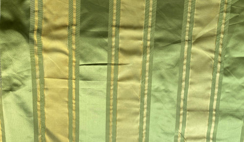 NEW Designer 100% Silk Satin Fabric with Apple Green & Gold Stripes
