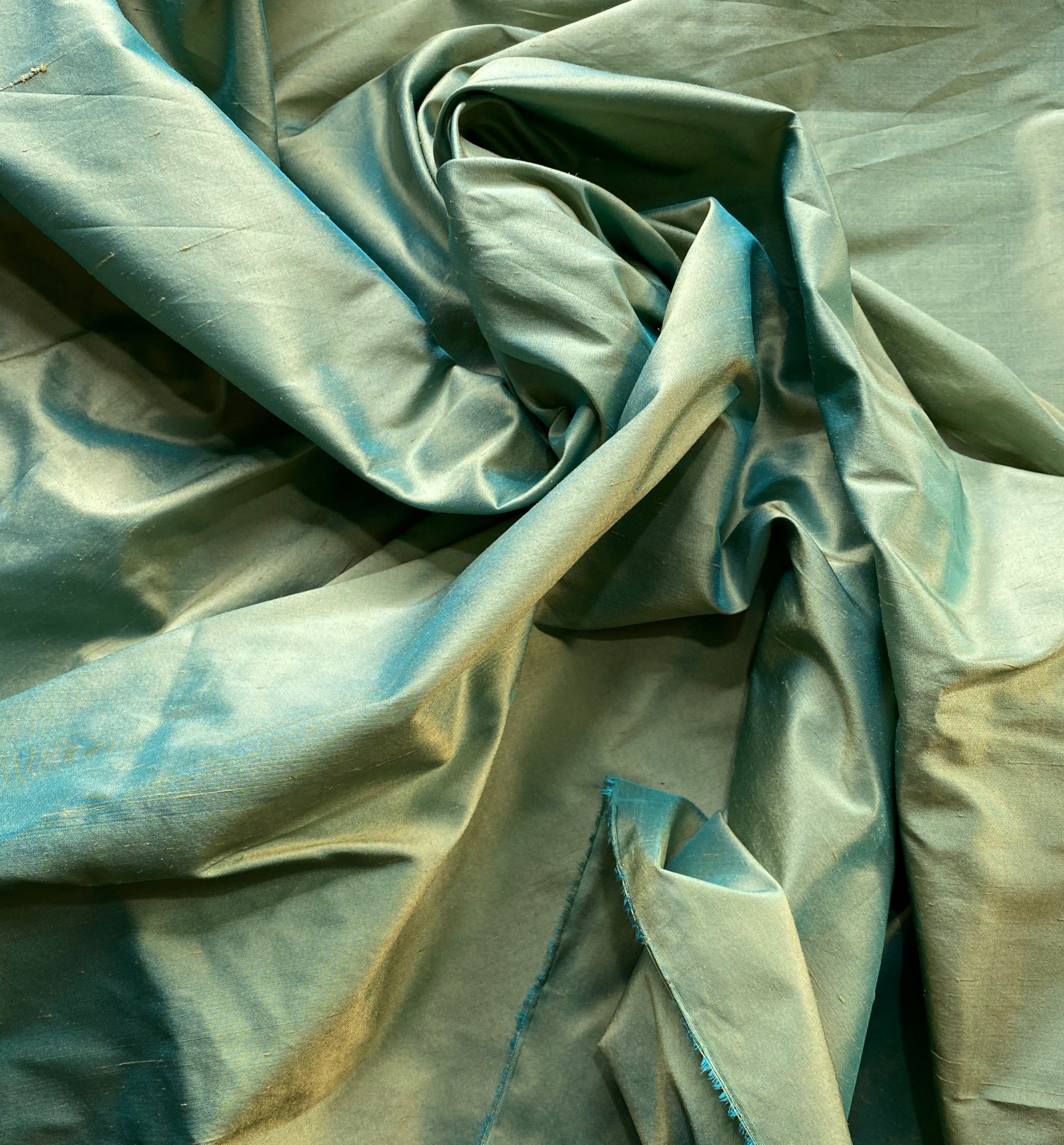 NEW Designer 100% Silk Dupioni Fabric in Light Turquoise with Peach Iridescence