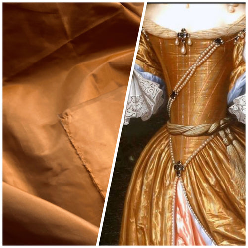 NEW Designer 100% Silk Taffeta Fabric in Copper with Gray Iridescence
