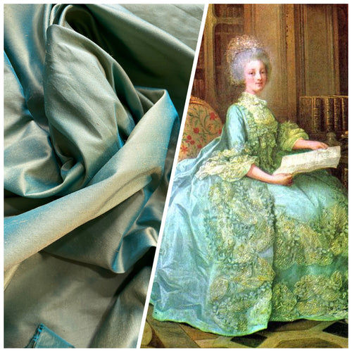 NEW Duchess Mable Designer 100% Silk Dupioni Fabric in Light Turquoise with Peach Iridescence