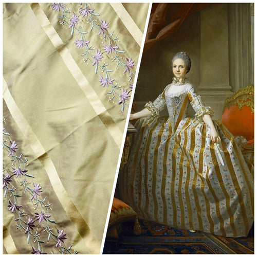 NEW Duchess Adele Designer 100% Silk Taffeta Ribbon Stripe Embroidered Floral Fabric in Gold and Lavender