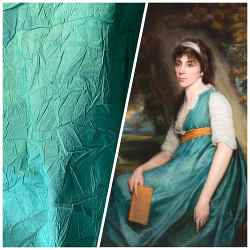 NEW Baroness Mavel Designer 100% Silk Crinkle Taffeta Fabric in Teal Blue
