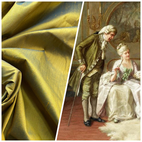 NEW Duchess Mable Designer 100% Silk Dupioni Fabric in Solid Electric Yellow with Teal Iridescence