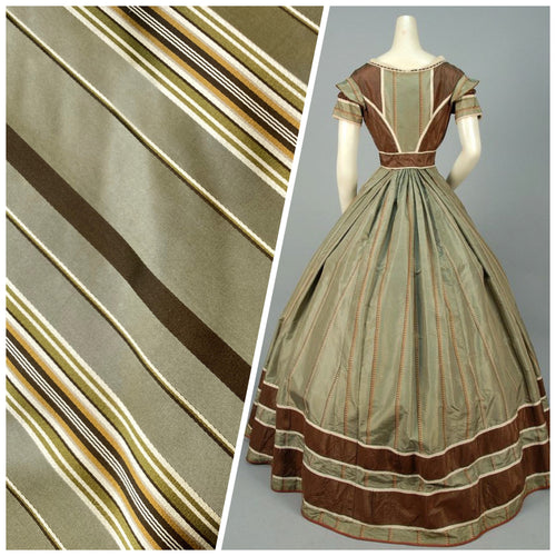 NEW Designer 100% Silk Fabric with Tone on Tone Olive Green & Gold Ribbon Stripes