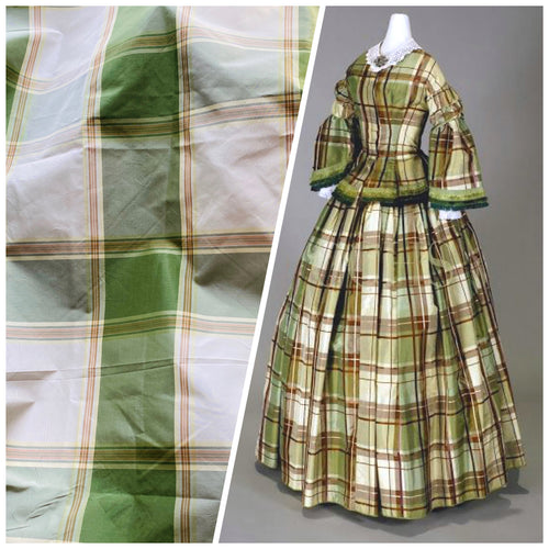 NEW Designer 100% Silk Taffeta Plaid Tartan Green & Cream Fabric