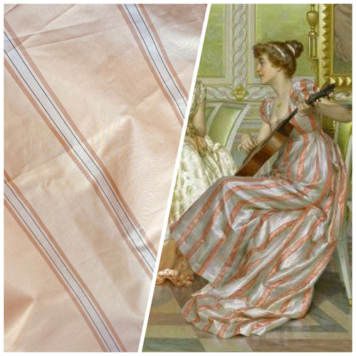 NEW Designer 100% Silk Taffeta Fabric in Peach & Cream
