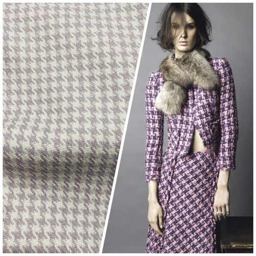 NEW Designer 100% Wool Houndstooth Fabric in Lavender and Cream