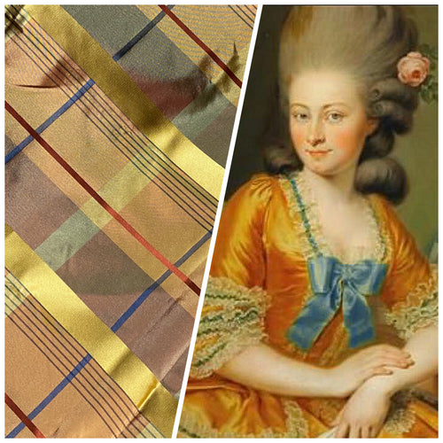 NEW Designer 100% Silk Tartan Plaid Tangerine Orange Fabric