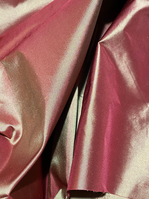 NEW Designer 100% Silk Taffeta - Cinnamon Red with Gold Iridescence