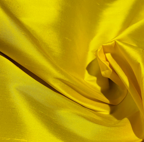NEW Duchess Mable Designer 100% Silk Dupioni Fabric in Solid Sunflower Yellow