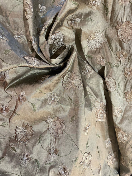 NEW Princess Luna 100% Silk Dupioni Fabric in Old Gold with Floral Embroidery