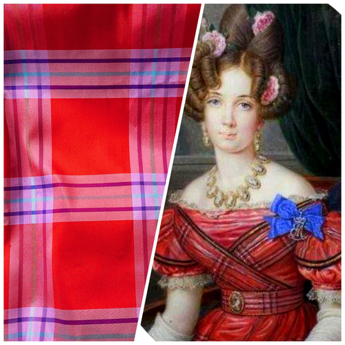 NEW Lady Alexandra 100% Silk Taffeta Red and Purple Plaid Tartan Fabric