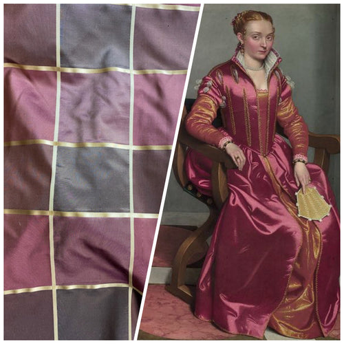 NEW Contessa Lucia 100% Silk Taffeta Plaid Tartan Berry and Gold Fabric