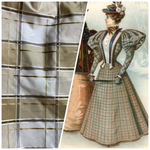 NEW Lady Beatrice 100% Silk Taffeta Plaid Tartan Satin Ribbon Striped Fabric in Gold and Cream